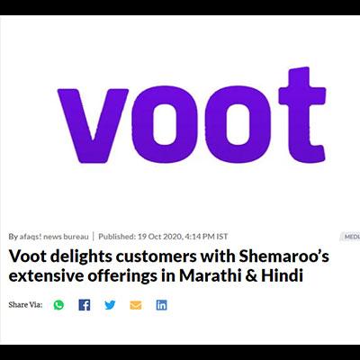 Voot delights customers with Shemaroo�s extensive offerings in Marathi & Hindi